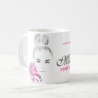 Beautiful woman fashion illustration branding coffee mug