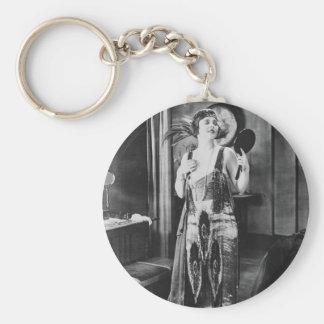 Beautiful Woman Flapper Dress 1920s Basic Round Button Key Ring