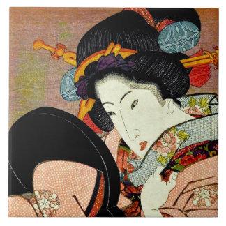 Beautiful Woman in Mirror by Utagawa Kunimaru Ceramic Tile