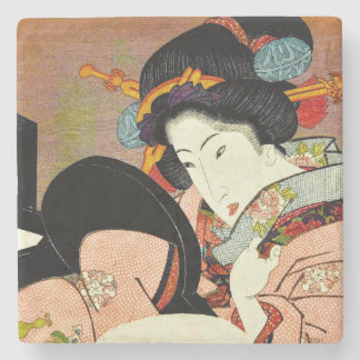 Beautiful Woman in Mirror by Utagawa Kunimaru Stone Coaster