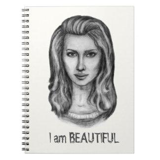 Beautiful woman. Pencil drawings Notebook
