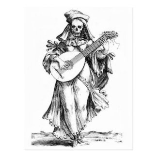 beautiful woman skeleton songstress postcard