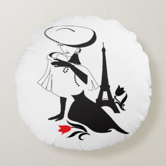 Beautiful woman vintage silhouette with a big hat round cushion