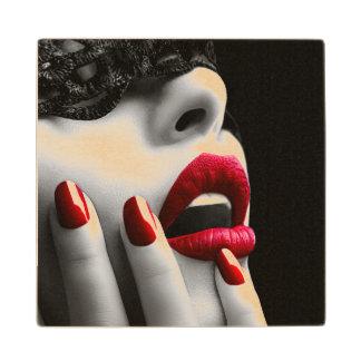 Beautiful Woman With Black Lace Mask Wood Coaster