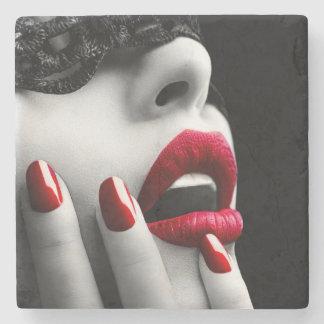 Beautiful Woman With Black Lace Mask Stone Coaster
