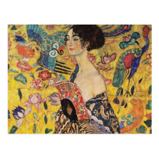 Beautiful Woman with Fan by Klimt Postcard