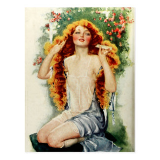 Beautiful Woman with Lustrous Golden Hair Postcard