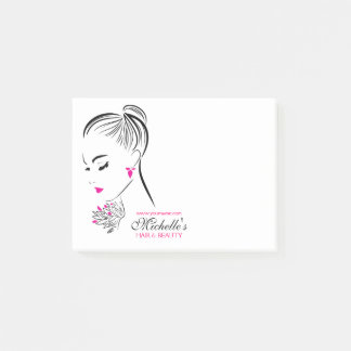 Beautiful woman with pink earrings branding post-it notes