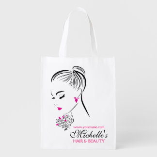 Beautiful woman with pink earrings branding reusable grocery bag