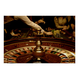 Beautiful Wooden Roulette Wheel Poster