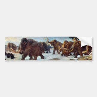 Beautiful woolly mammoths in snow bumper stiker bumper sticker