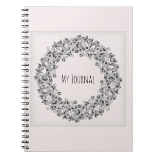 Beautiful wreath journal in light pink
