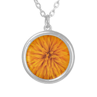 Beautiful Yellow Dahlia Flower Blossom Silver Plated Necklace