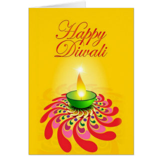 Beautiful Yellow Diwali Lamp Greeting Card