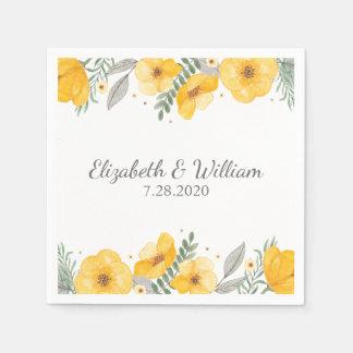 Beautiful Yellow Flower Elegant Romantic Wedding Paper Napkin