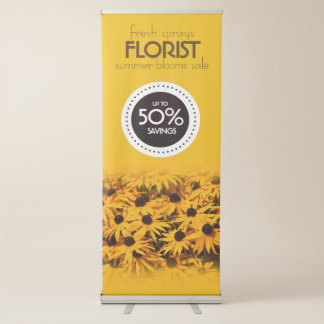Beautiful Yellow Flowers Florist Summer Sale Retractable Banner