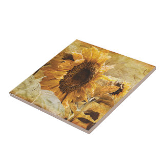 Beautiful Yellow Giant Sunflower Photo Art Ceramic Tile