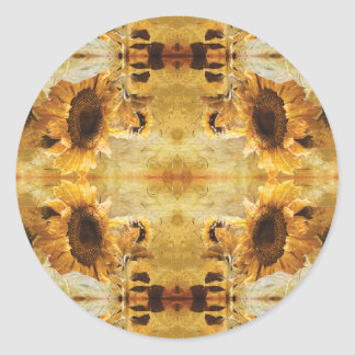 Beautiful Yellow Giant Sunflower Photo Art Pattern Classic Round Sticker