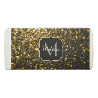 Beautiful Yellow Gold sparkles Monogram Eraser