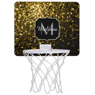 Beautiful Yellow Gold sparkles Monogram Mini Basketball Hoop