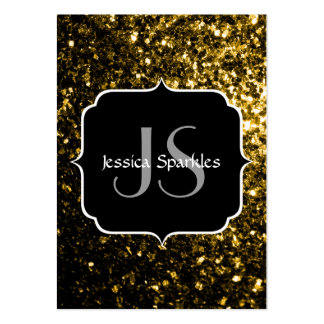 Beautiful Yellow Gold sparkles with Monogram Pack Of Chubby Business Cards