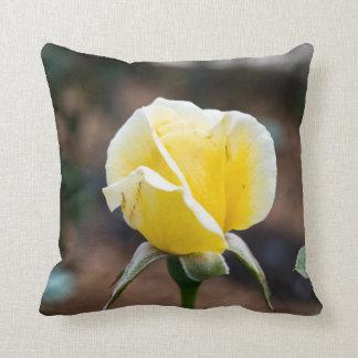 Beautiful Yellow Rose Bud Throw Pillow