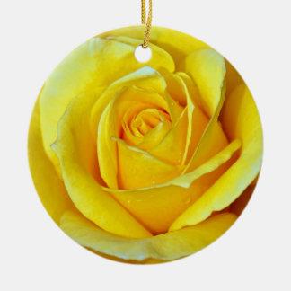 Beautiful yellow rose christmas ornament