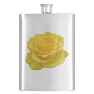 Beautiful Yellow Rose Closeup Isolated Hip Flask