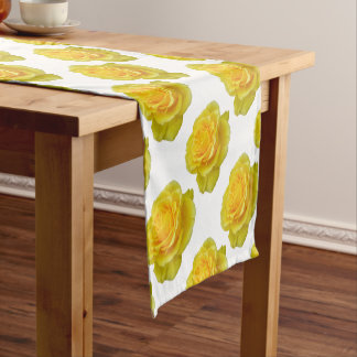 Beautiful Yellow Rose Closeup Isolated Short Table Runner