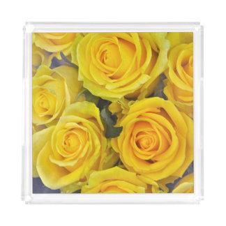 Beautiful yellow roses acrylic tray