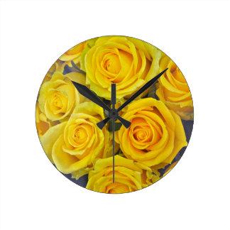 Beautiful yellow roses round clock