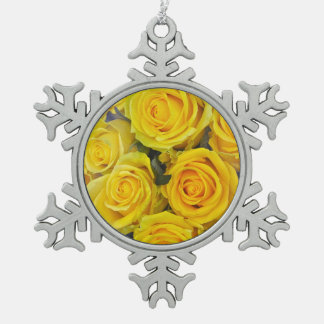 Beautiful yellow roses snowflake pewter christmas ornament