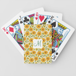 Beautiful yellow Summer Sunflowers pattern Bicycle Playing Cards