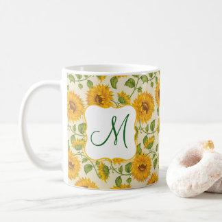 Beautiful yellow Summer Sunflowers pattern Coffee Mug