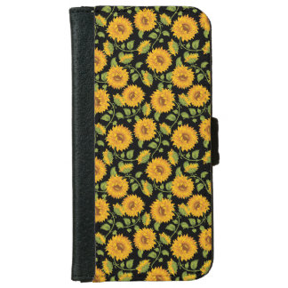 Beautiful yellow Summer Sunflowers pattern iPhone 6 Wallet Case