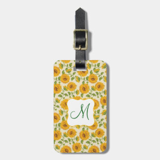 Beautiful yellow Summer Sunflowers pattern Luggage Tag