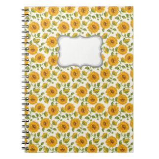 Beautiful yellow Summer Sunflowers pattern Spiral Note Books