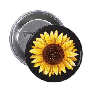 Beautiful yellow sunflower drawing button