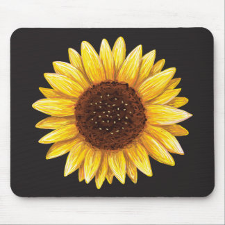 Beautiful yellow sunflower drawing mousepad