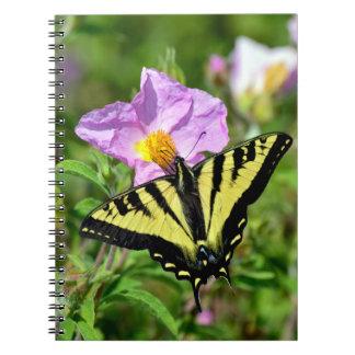 Beautiful yellow swallowtail butterfly notebooks