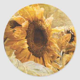 Beautiful Yellow Texture Giant Sunflower Photo Art Classic Round Sticker