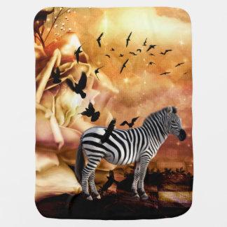 Beautiful zebra with birds baby blanket
