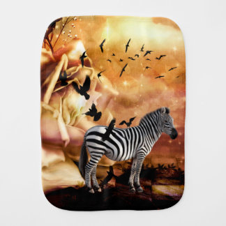 Beautiful zebra with birds burp cloth