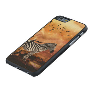 Beautiful zebra with birds carved maple iPhone 6 case