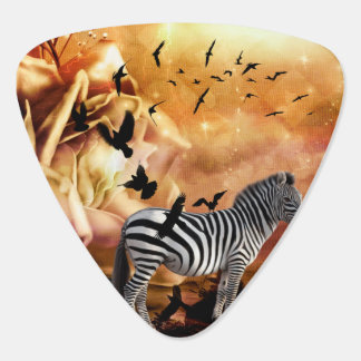 Beautiful zebra with birds guitar pick