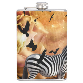 Beautiful zebra with birds hip flask