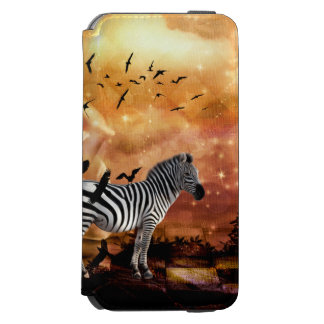 Beautiful zebra with birds incipio watson™ iPhone 6 wallet case