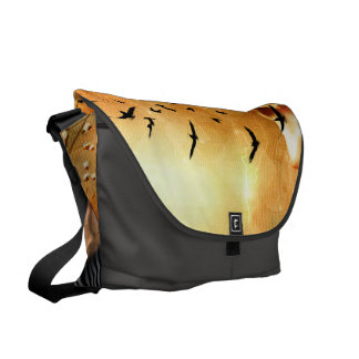 Beautiful zebra with birds messenger bags