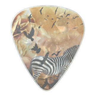Beautiful zebra with birds pearl celluloid guitar pick