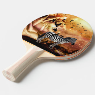 Beautiful zebra with birds ping pong paddle